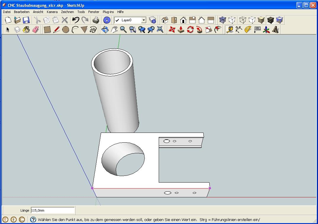 CNC Absaugstutzen Sketchup