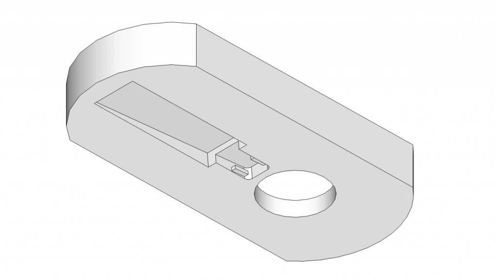 Detail: Halterung für die USB- Beleuchtung